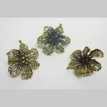 ring one size flower crystal various colors