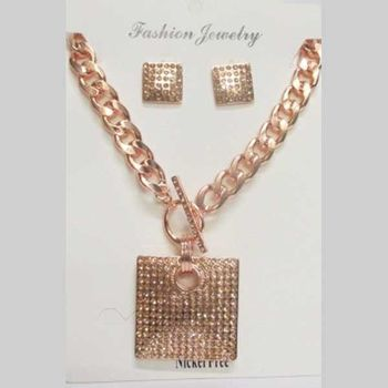 collier bling bling metal rosé