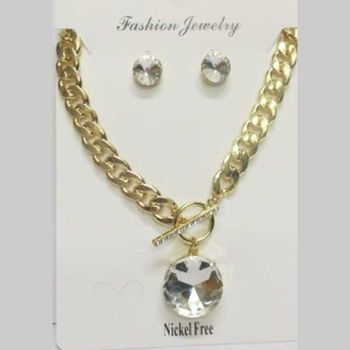 jewelry chain chunky mesh round pendant crystal