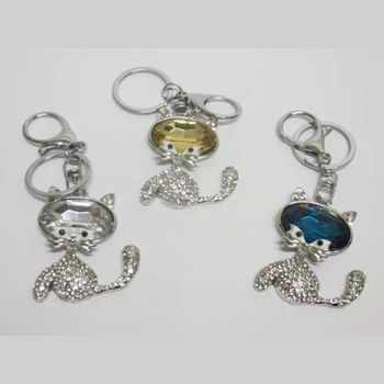 crystal mustached cat keychain jewelry
