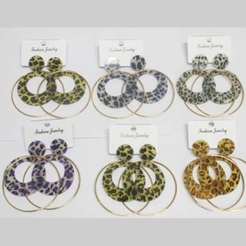 leopard hoop earrings with additional ring