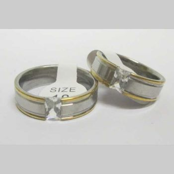 two-tone crystal jewelry steel ring
