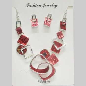 red enamelled square chain jewelry