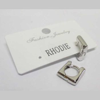 rhodium-plated square earring