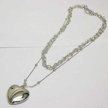 double chain link jewelry and heart pendant