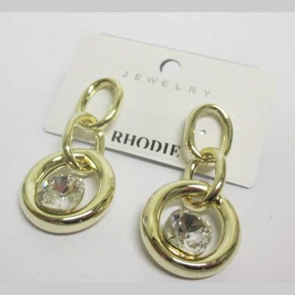 modern rhodium-plated earrings with golden crystal