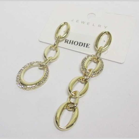 mismatched gold metal crystal earrings