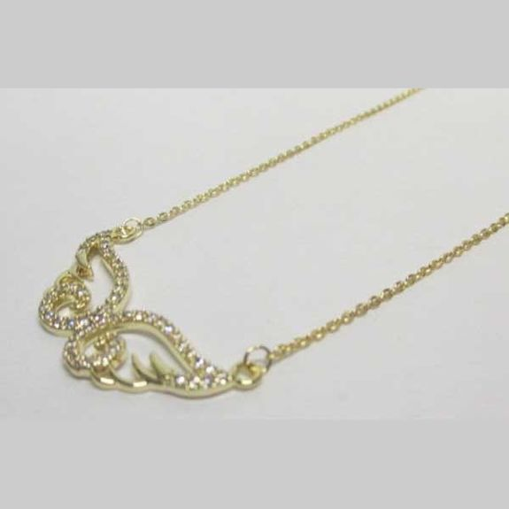 gold crystal wavy wing jewelry