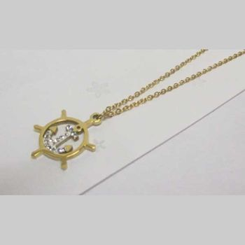 gold steel jewelry rudder anchor pendant