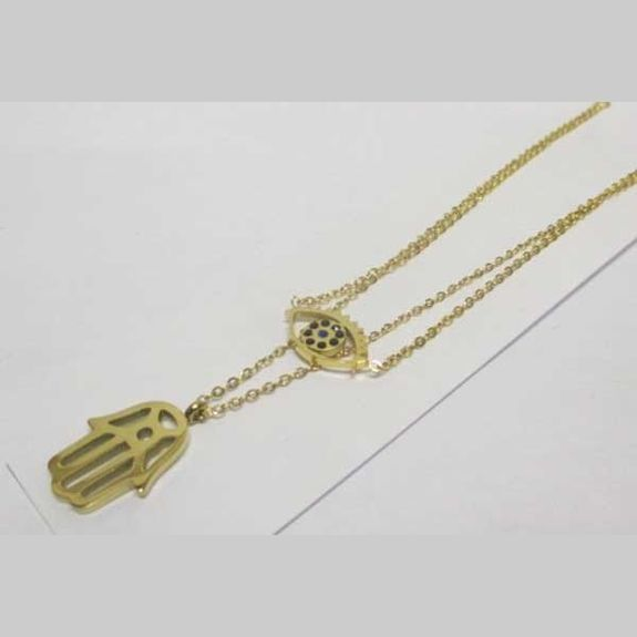 eye and hand golden steel necklace jewelry