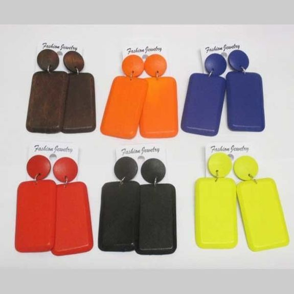rectangle wood earrings jewelry in all colors