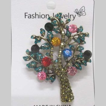 multicolored tree of life brooch jewelry