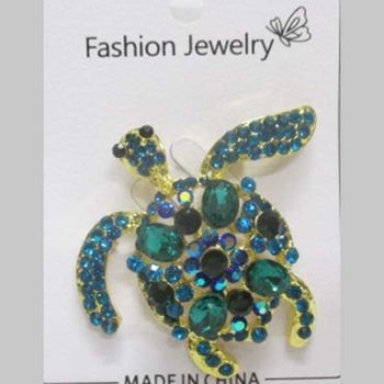 tropical turtle jewelry brooch