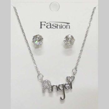 crystal angel writing necklace jewelry