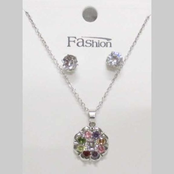 crystal multicolored flower medallion necklace jewelry