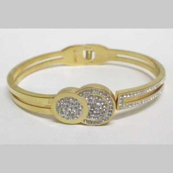 small and large circle bangle bracelet with golden steel rhinestones