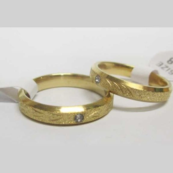 gold-plated steel sequin diamond ring alliance