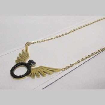 black ring necklace jewelry with golden steel wings