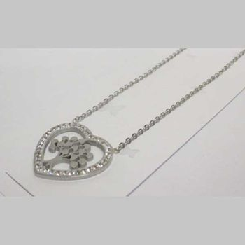 stainless steel tree of life heart pendant