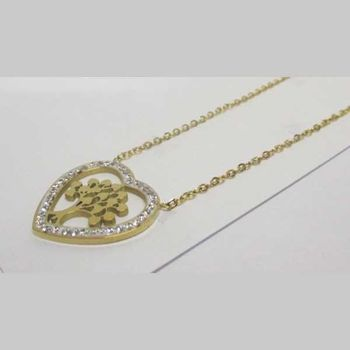 gold leaf inlaid stainless steel heart pendant
