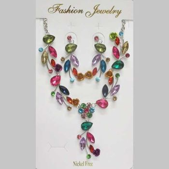 multicolored crystal jewelry for evening