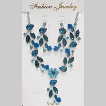 blue crystal jewelry set for wedding
