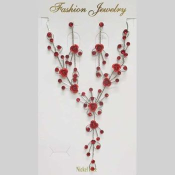 red flower crystal woman jewelry