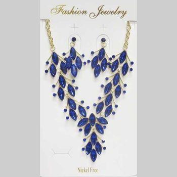 blue crystal necklace jewelry with matching earring