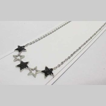 Silver and black star pendant jewelry in steel
