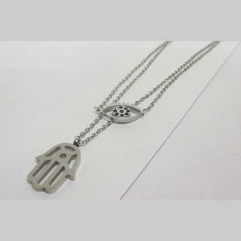 double chain eye and hand necklace jewelry