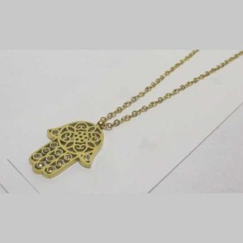Hand of Fatma crystal gold chain jewelry