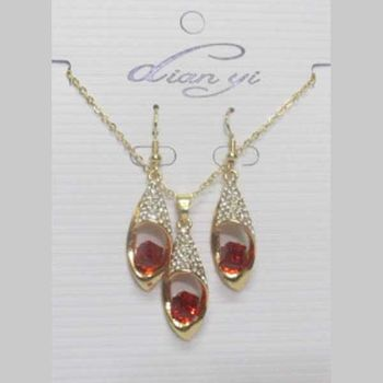 jewelry set red crystal at wholesaler
