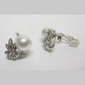 boucles oreilles perle coiffee strass