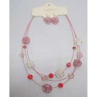 Collier fantaisie suspension 3 rangs  fleur