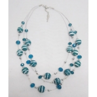 Collier fantaisie suspension 3 rangs bleu