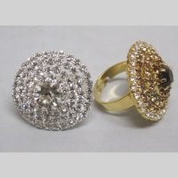 Bague reglable rond strass