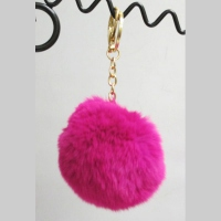 Fuschia Pompon key holder