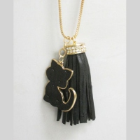 Collier pompon chat noir