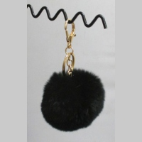 Black Pompon key holder