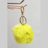 Yellow Pompon key holder