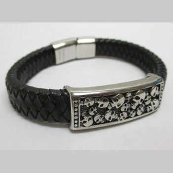 braided steel bracelet skull