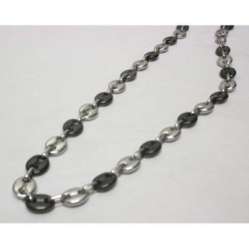 Necklace man black and silver coffee bean