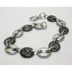 Silver and black coffee bean bracelet