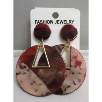 Flat round resin earring