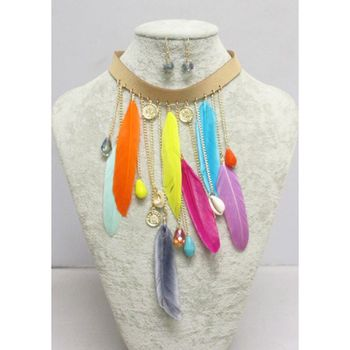 Multicolored feather necklace