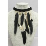 Black feather neckband