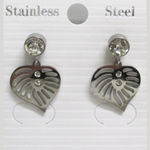 Steel Earrings - Heart with Rhinestones