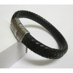 black leather steel bracelet