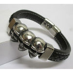 bracelet leather man skull