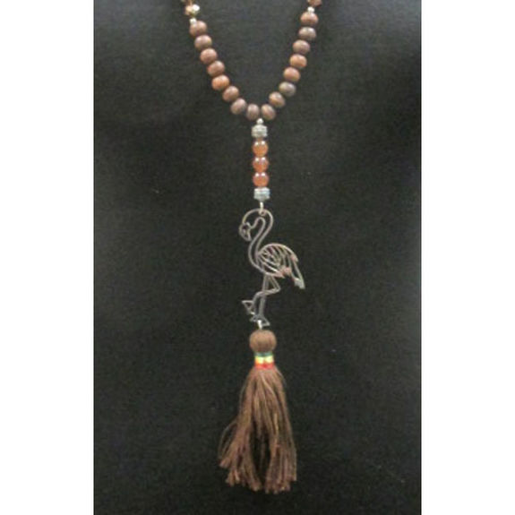 necklace pearls wood and flamingo